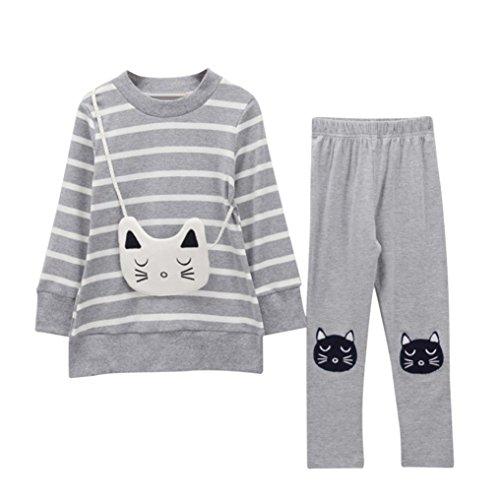 JERFER 2pcs Gestreifte Comic-Katze Outfit Set Herbst Frühling Bekleidungsset nette Baby Kind Kleidung Langarm Shirt Tops Bluse + Hose Leggings für 4-8 Jähriges Mädchen (Grau, ()