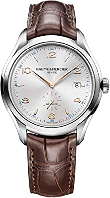 Baume & Mercier Clifton Stainless Steel Mens Automatic Watch Sapphire Crystal - 41mm Analog Silver Face with Second Hand and Date - Brown Leather Band Swiss Made Self Winding Watches for Men 10054