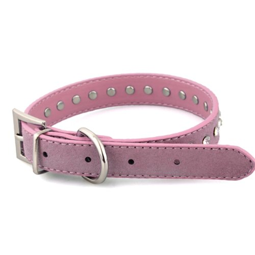 Collar Correa Cuero PU Color Rosa Ajustable Remache para Perro Mascota M