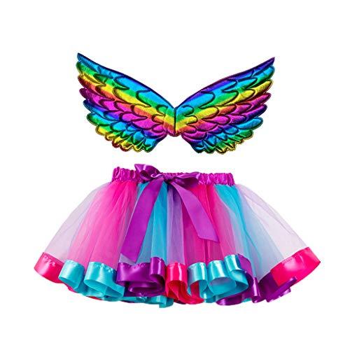 Lazzboy Kinder Mädchen Ballettröckchen Weihnachtsfeier Tanz Ballett Kleinkind Kostüm Rock+Flügel Sets Schmetterling Tüllrock Bunt Regenbogen Tütü Ballettrock Tutu(Pink,M)