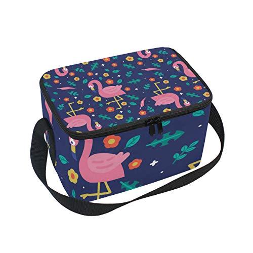 ALINLO Flamingo Lunchbag mit Blumenmuster, Reißverschluss, isolierte Kühltasche, Lunchbox Meal Prep Handtasche für Picknick, Schule, Damen, Herren, Kinder -