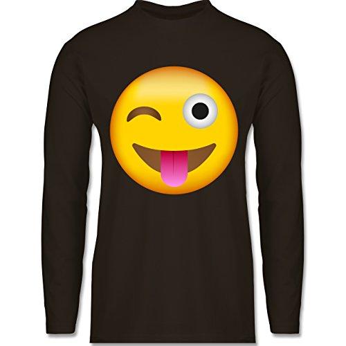 Comic Shirts - Emoji Herausgestreckte Zunge - Herren Langarmshirt Braun