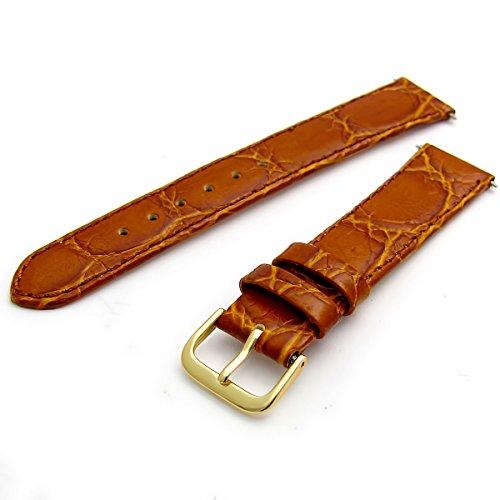 Echtes Leder Uhrenarmband flach Krokodil-Korn 18mm hellbraun mit vergoldet (Gold Farbe) Schnalle (Krokodil Uhrenarmband)
