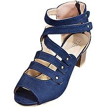 Sandalias Zapatos Mujer,Jodier Tacón Medio Piel Fino Fiesta Vestir Elegante Confort Cómodos Clásicos Zapatos