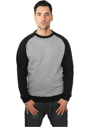 URBAN CLASSICS - 2-tone Raglan (grey/black) - Crewneck, Gr. XL (Tone-raglan-t-shirt)