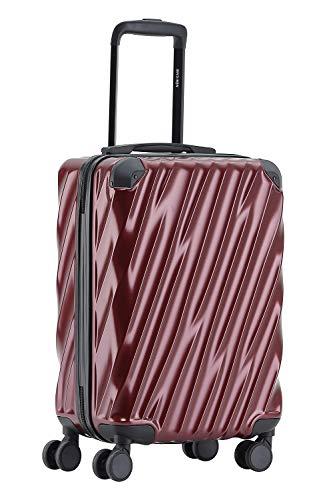 MÜNICASE TSA Schloß Handgepäck Trolley Koffer-Set Reisekoffer (Weinrot, M-55cm) -