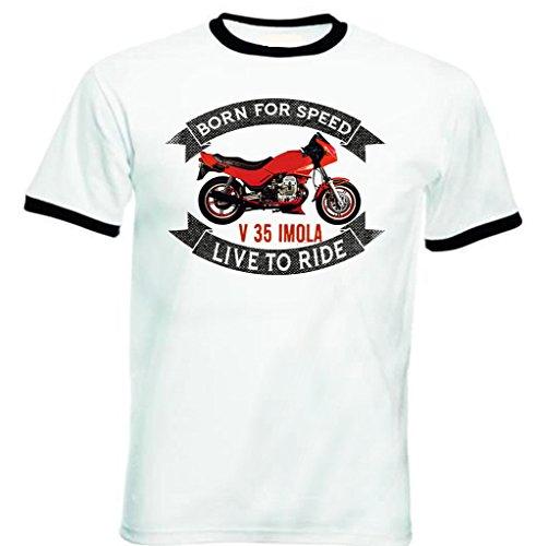 TEESANDENGINES Moto Guzzi V35 Imola Tshirt da Uomo con Bordi Neri Size Medium