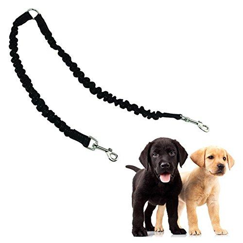 Yunt Hundeleine Doppelleine Dehnbare reflektierende Training Hunde Leine für 2 Hunde (schwarz/rot/blau)