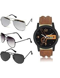Sheomy UV Protection Aviator Unisex Sunglasses(3IN1-0043 Black) - Combo of 3