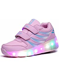 Zcoins - Zapatillas de skateboarding de Material Sintético para niña rosa rosa