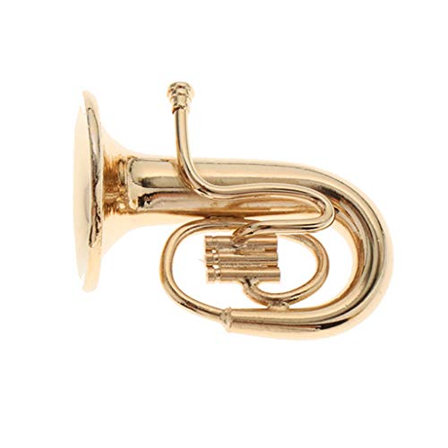 Unbekannt 1:12 Puppenhaus Miniatur Metall Tuba Musikinstrument Modell