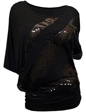 CHENGYANG Maglia Manica a 3/4 Rotondo Tinta Unita Top Maglietta T-shirt con paillettes Donna