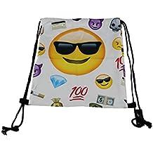 Cooler Turn Gymbag Borsa Zaino Sport sacchetto Gymsack Hipster Trend con cordino Design: Emoticon