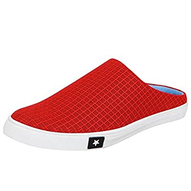 FAUSTO Men's Red Synthetic Slip-on Shoes -6 UK