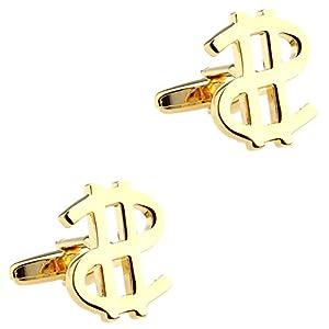 CIFIDET Gold USD US Dollar Manschettenknöpfe Fashion Herren Hemd Manschettenknöpfe mit Geschenk-Box