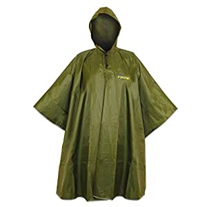 Rain Poncho-Waterproof-Durable-Adult-Raincoat With Hood-Perfect for Camping–Fishing-Dog Walking–Festivals–outdoors-Military Green Colour-Polyester with PVC coating -Durable material- Designed For You To Stay Dry Homie!