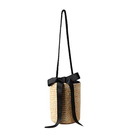 bucket-shaped handgefertigt Stroh Beach Bag Etro geflochten Schulter Crossbody Handtasche Sling Tasche für Summer Day Travel, beige -