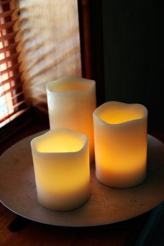 Best Season 066-71 - Juego de lámparas LED con forma de vela, 3 piezas, incluye mando a distancia
