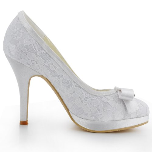 Elegantpark EL-003-PF Geschlossene Zehen Stiletto Plateau Satin Lace Schleife Pumps Damen Brautschuhe Weiß