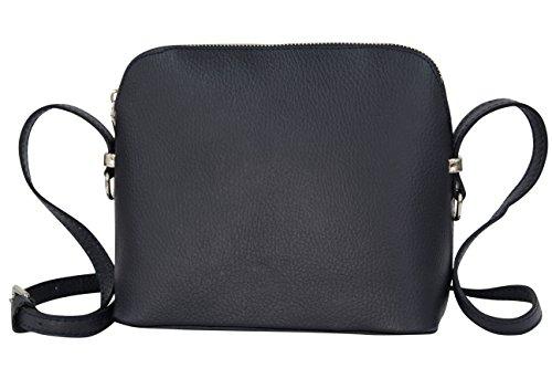 AMBRA Moda Italienische Ledertasche Damen Handtasche Umhängetasche Schultertasche Leder Tasche klein GL018 (Marine Blau) (Marine-blau-handtasche)