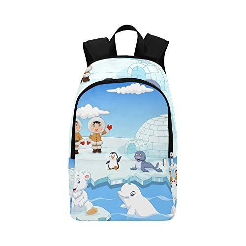 Reizende arktische wild lebende Tiere Karikatur-beiläufige Daypack-Reisetasche College School-Rucksack für Männer und ()