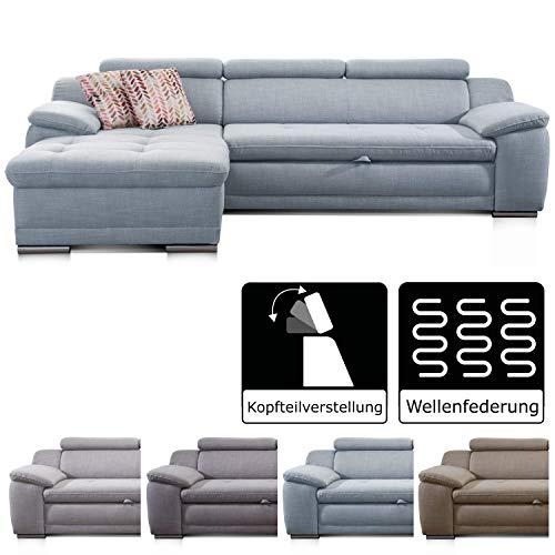 Cavadore Ecksofa Aniamo mit XL-Longchair rechts / Eckcouch mit Kopfteilfunktion im modernen Design / Sitzecke für...