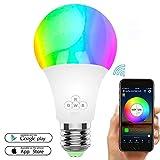 Smart LED Glühbirne, WiFi Glühbirnen 50W Äquivalent, Dimmbare RGBW Farbwechsel Licht mit APP Fernbedienung, E27 Wake Up Lichter Smart LED Glühbirne Kompatibel mit Alexa, Google Home & IFTTT