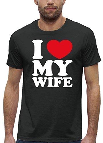 Valentinstag Premium Herren T-Shirt aus Bio Baumwolle I LOVE MY WIFE Stanley Stella Anthrazite