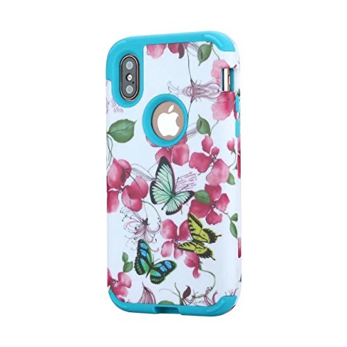 iPhone X Coque, Lantier Henna Mandala Floral Flowers / Butterflies / Marble Hybrid Armor TPU + Plastic Heavy Duty Bumper High Impact Shockproof Durable Case pour Apple iPhone X Butterfly Blue