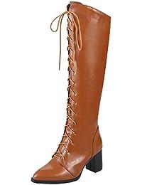 YE Damen High Heels Blockabsatz Spitze Boots mit Reißverschluss und  Schnürung Kniehoch Stiefel High Knee Boots ebfd152efd