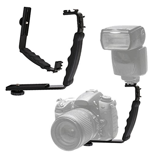 Hot Wireless Shoe (broadroot Professional 2 Schuh Flash Bracket L-förmigen Winkel für DV Tablett Dual Hot Shoe für DSLR Kamera Teil Zubehör)