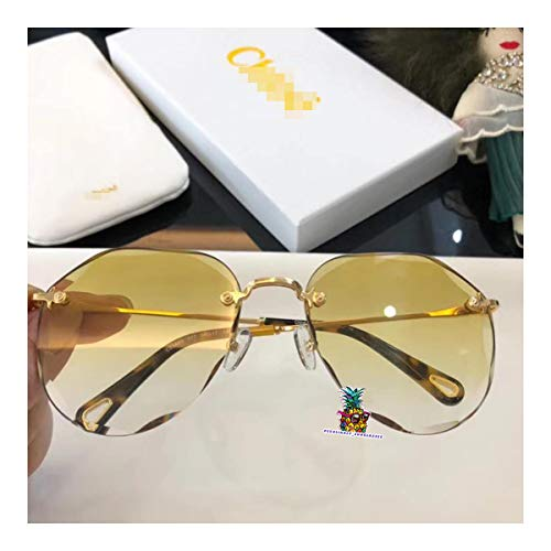 day spring online shop Womens/Ladies Shield Rimless Gradient Lenses Sunglasses/Eyewear for 146-yellow