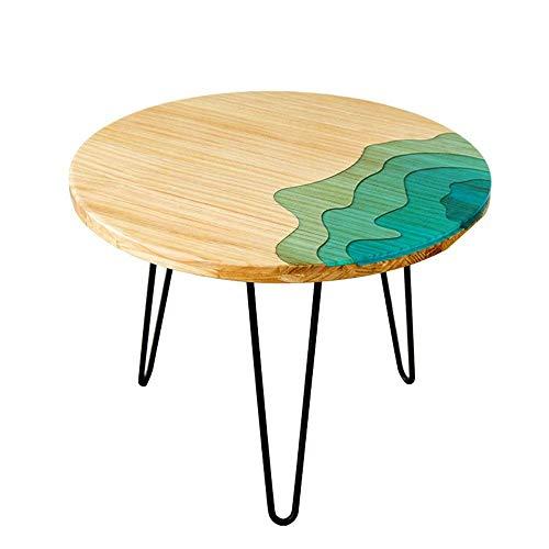 Axdwfd Table d'appoint Table ronde en bois massif Table basse, 3 pieds, support en métal, canapé, salon, balcon, table de loisirs, table de collations, 23.6''15'15 ''