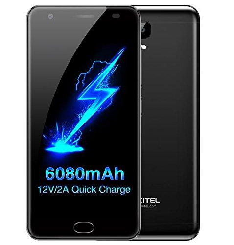 OUKITEL K6000 Plus - Android 7.0 6080mAh Akku 5,5 Zoll Smartphone 4GB RAM 64GB ROM MTK6750T Octa Core 1.5GHz 8.0MP + 16.0MP Kamera Front Fingerabdruck GPS - Klavier schwarz