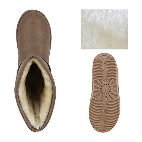 Schlupfstiefel Damen Zierperlen Stiefel Stiefeletten Warm Gefüttert Khaki Khaki