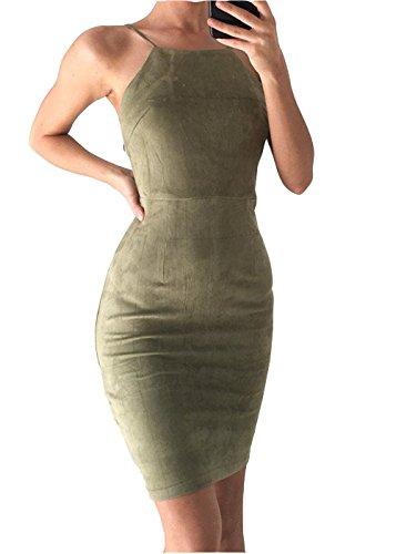 Vestido Ajustado sin Mangas sin Tirantes Club Dress Ejercito Verde XL
