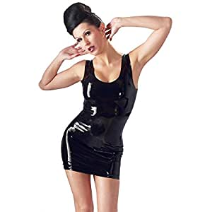 Sexy Damen Minikleid aus Latex - ärmelloses Latexkleid XS - XXL Schwarz The Latex Collection Größe Xs