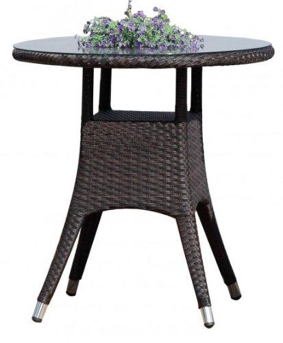 Table basse Table ronde avec plateau en verre, en poly rotin café