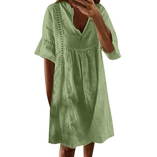 Bellelove Damen Sommerkleider V-Ausschnitt Strandkleider Kurzarm Casual A-Linie Kleid Böhmen Kleid Bohemian Midi Kleid