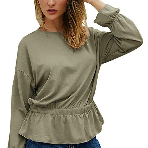 DOFENG Damen T Shirt Bluse Sweatshirt Damen Lange Ärmel Mode Locker Volltonfarbe Rüschensaum Lässig O Hals Pullover Oberteil Tops (Grün, Large) -