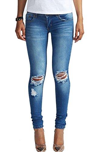 SMITHROAD Damen Skinny Stil Jeanshose mit Löchern Zerrissen Jeans mit Stretch Slim Fit Dunkelblau Gr.44
