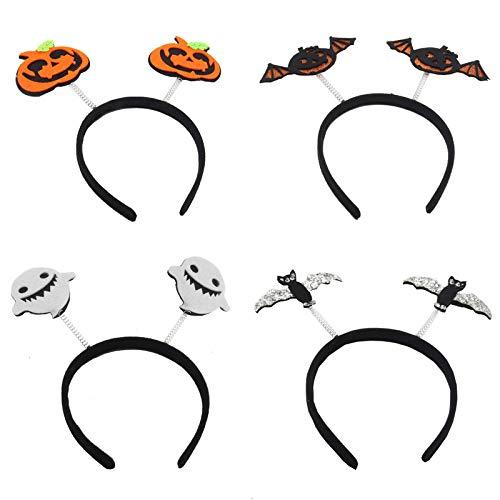 Halloween-Stirnband, Kürbisschläger, Fledermaus, 4 Stück