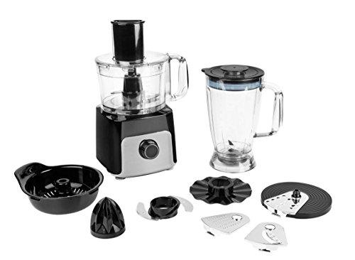 MEDION MD 15482 Küchenmaschine (500 Watt, 1200 ml Mixschüssel , 1800 ml Standmixeraufsatz, großes Zubehör-Set) schwarz