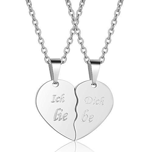 Valentinstag Paar Partner Herzkette Geschenk silber, Pärchen Kette Geschenke Herz Puzzle Anhänger mit Gravur Ich liebe Dich für Damen Herren Freundschaftsketten