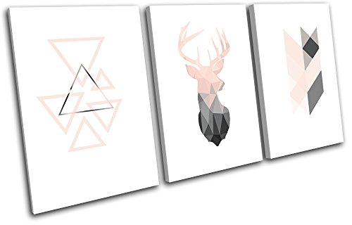 Bold Bloc Design - Deer Stag Geometric Modern Animals 90x45cm TREBLE Canvas Art Print Box Framed Picture Wall Hanging - Hand Made In The UK - Framed And Ready To Hang