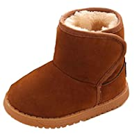 Oyedens Fashion Baby Winter Thick Warm Snow Boots Toddler Boy Girls Fur Shoes (UK 4-4.5, Brown)