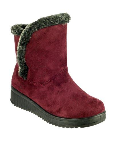 Amblers Arctic Damen Stiefel Pull Textil Warmlined Buchs'auf Schuhe NEU Bordeaux