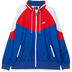 Nike Nsw Windrunner Chaqueta Deportiva Impermeable Para Hombre Color Indigo Force/University Red Talla M