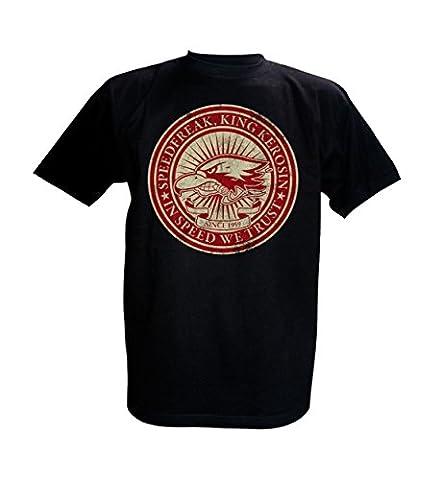 King Kerosin T-Shirt In Speed we Trust (XL, Schwarz) (Bmx Racing Tire)