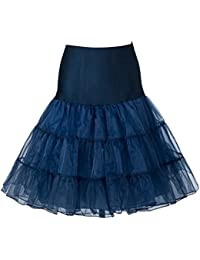 "Boolavard® TM 1950's 26"" Petticoat Reifrock Unter Rock Unterrock Underskirt Crinoline Röcke Vintage Swing Oktoberfest Kleid - Rot, Schwarz, Weiß, Blau, Rosa (S-M (EU 32-40), Navy)"